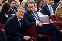 Alfonso Bonafede, Italian minister of justice and Gianluca Castaldi, senator of M5S<br /> Rome February 18th 2020. Senate. Event 'United against the corruption'.<br /> Foto Samantha Zucchi Insidefoto