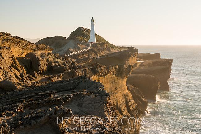 Sunrise over Castlepoint Lighthouse, Hawke's Bay, North Island, New Zealand, NZ