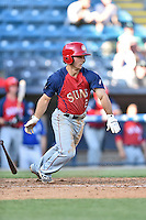 Hagerstown Suns second baseman Max Schrock (2) swings at a pitch during a game against the Asheville Tourists at McCormick Field on April 28, 2016 in Asheville, North Carolina. The Tourists were leading the Suns 6-5 when the game was delayed in the top of the 6th inning due to darkness. (Tony Farlow/Four Seam Images)