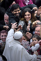 Pope Francis during general audience at the Paul VI hall at the Vatican,January 13, 2016