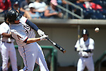 Reno Aces' Kyle Jensen hits a home run against the Iowa Cubs at Greater Nevada Field in Reno, Nev., on Tuesday, May 17, 2016. <br />Photo by Cathleen Allison