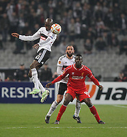 26.02.2015. Atatürk Olympic Stadium, Istanbul, Turkey.  UEFA Europa League Round of 32 second leg match between Besiktas JK  and Liverpool FC on February 26, 2015 in Istanbul, Turkey.  Atiba Hutchinson 13 and Serdar Kurtulus of Besiktas and Mario Balotelli of Liverpool.