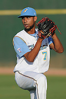 Pitcher Luis Parra (7) of the Myrtle Beach Pelicans before a game against the Potomac Nationals on Friday, August 9, 2013, at TicketReturn.com Field in Myrtle Beach, South Carolina. Myrtle Beach won, 3-2. (Tom Priddy/Four Seam Images)
