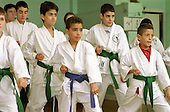 Kyu-yo-bu-shin Karate class in the Warwick Community Centre, Harrow Road, West London, supported by Single Regeneration Budget (SRB) funding via the Paddington Development Trust.