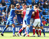 28th August 2021; Cardiff City Stadium, Cardiff, Wales;  EFL Championship football, Cardiff versus Bristol City; Cardiff City and Bristol City players get into a fracas during the second half
