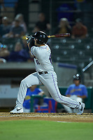 Jordan George (12) of the Winston-Salem Dash follows through on his swing against the Myrtle Beach Pelicans at TicketReturn.com Field on May 16, 2019 in Myrtle Beach, South Carolina. The Dash defeated the Pelicans 6-0. (Brian Westerholt/Four Seam Images)