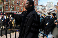 """Dr. Jonathan L. Walton, Professor of Religion and Society at Harvard Divinity school and Plummer Professor of Christian Morals and Pusey Minister in Harvard's Memorial Church, addressed gathered students before a die-in protest in Harvard Yard, Cambridge, Massachusetts, USA.<br /> <br /> Harvard students and community members gather for a """"die-in"""" protest outside of Memorial Church in Harvard Yard in Cambridge, Massachusetts, USA. Many protestors wore face masks with the phrase """"I can't breathe,"""" a reference to the last words of Eric Garner, a young black man who was killed by a police officer in New York City. The protest was meant to draw attention to the Garner's death and other recent police killings of black men, including the death of Michael Brown in Ferguson, Missouri."""