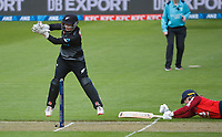 England's Danni Wyatt makes her ground as Katey Martin fields a return during the first international women's T20 cricket match between the New Zealand White Ferns and England at Sky Stadium in Wellington, New Zealand on Wednesday, 3 March 2021. Photo: Dave Lintott / lintottphoto.co.nz