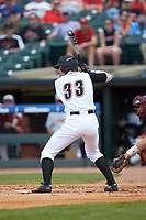 Ryan Summers (33) of the Louisville Cardinals at bat against the Florida State Seminoles in Game Eleven of the 2017 ACC Baseball Championship at Louisville Slugger Field on May 26, 2017 in Louisville, Kentucky. The Seminoles defeated the Cardinals 6-2. (Brian Westerholt/Four Seam Images)