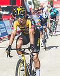 Primoz Roglic (SLO) Jumbo-Visma crosses the finish line in 2nd place at the end of Stage 6 of La Vuelta d'Espana 2021, running 158.3km from Requena to Alto de la Montaña Cullera, Spain. 19th August 2021.    <br /> Picture: Cxcling   Cyclefile<br /> <br /> All photos usage must carry mandatory copyright credit (© Cyclefile   Cxcling)