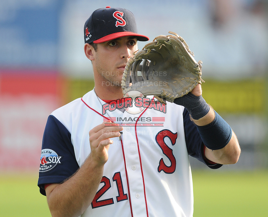 Infielder Travis Shaw (21) of the Salem Red Sox, a Boston Red Sox affiliate, prior to a game against the Winston-Salem Dash on June 6, 2012, at LewisGale Field in Salem, Virginia. Salem won, 4-1. (Tom Priddy/Four Seam Images)