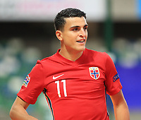 7th September 2020; Windsor Park, Belfast, County Antrim, Northern Ireland; EUFA Nations League, Group B, Northern Ireland versus Norway; Mohamed Elyounoussi of Norway  celebrates scoring the opening goal in the 2nd minute