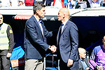 Real Madrid's coach Zinedine Zidane and Deportivo Alaves's coach Mauricio Pellegrino during La Liga match between Real Madrid and Deportivo Alaves at Stadium Santiago Bernabeu in Madrid, Spain. April 02, 2017. (ALTERPHOTOS/BorjaB.Hojas)