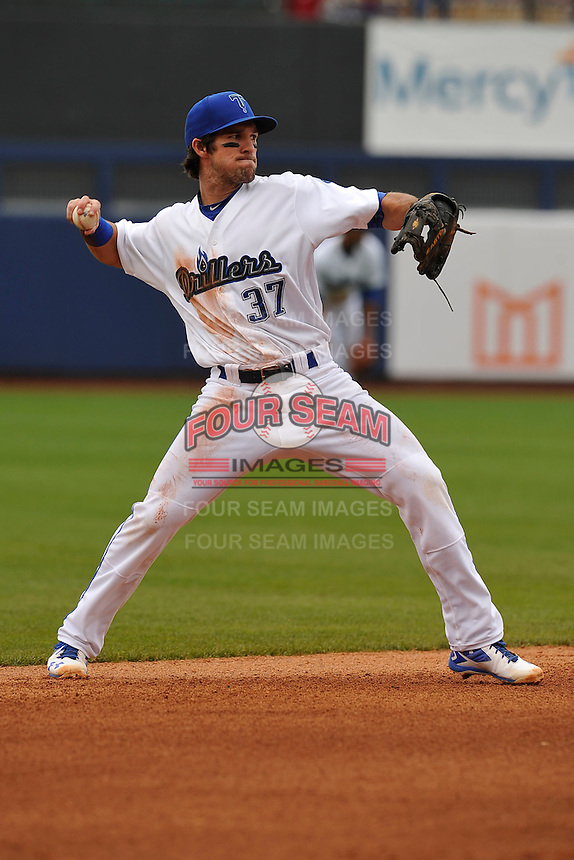 Tulsa Drillers Drew Maggi (37) throws to first base during the game against the Northwest Arkansas Naturals at Oneok Field on May 2, 2016 in Tulsa, Oklahoma.  Northwest Arkansas won 9-6.  (Dennis Hubbard/Four Seam Images)