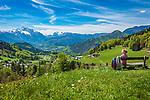 Deutschland, Bayern, Berchtesgadener Land, bei Oberau (Berchtesgaden): Blick ueber Berchtesgaden in die Berchtesgadener Alpen mit Hochkalter 2.607 m (links) und Reiter Alpe - auch Reiter Alm genannt | Germany, Upper Bavaria, Berchtesgadener Land; near Oberau (Berchtesgaden): view across Berchtesgaden towards Berchtesgaden Alps with summits Hochkalter 2.607 m (left) and Reiter Alpe mountain range, also called Reiter Alm