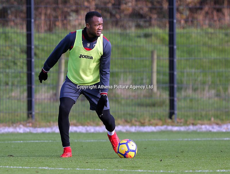 Jordan Ayew in action during the Swansea City Training at The Fairwood Training Ground, Swansea, Wales, UK. Wednesday 01 November 2017