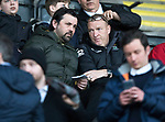 St Johnstone v Hearts…05.04.17     SPFL    McDiarmid Park<br />Dundee boss Paul Hartey chats with Inverness assistant Brian Rice<br />Picture by Graeme Hart.<br />Copyright Perthshire Picture Agency<br />Tel: 01738 623350  Mobile: 07990 594431