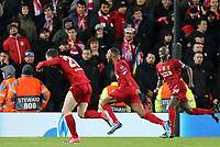 Liverpool's Georginio Wijnaldum (Ctr) celebrates scoring the opening goal<br /> <br /> Photographer Rich Linley/CameraSport<br /> <br /> UEFA Champions League Round of 16 Second Leg - Liverpool v Atletico Madrid - Wednesday 11th March 2020 - Anfield - Liverpool<br />  <br /> World Copyright © 2020 CameraSport. All rights reserved. 43 Linden Ave. Countesthorpe. Leicester. England. LE8 5PG - Tel: +44 (0) 116 277 4147 - admin@camerasport.com - www.camerasport.com
