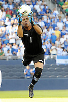 Honduras goalkeeper Jose Mendoza makes asave... Honduras defeated El Salvador 3-2 after extra time to go through to the final at LIVESTRONG Sporting Park, Kansas City, Kansas.