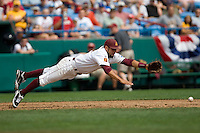 Arizona State's Raoul Torrez dives for a ground ball in Game 4 of the NCAA Division One Men's College World Series on Monday June 21st, 2010 at Johnny Rosenblatt Stadium in Omaha, Nebraska.  (Photo by Andrew Woolley / Four Seam Images)