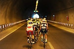 The peloton pass thorogh a tunnel during Stage 2 of the 2015 Presidential Tour of Turkey running 182km from Alanya to Antalya. 27th April 2015.<br /> Photo: Tour of Turkey/Stiehl Photography/Mario Stiehl/www.newsfile.ie