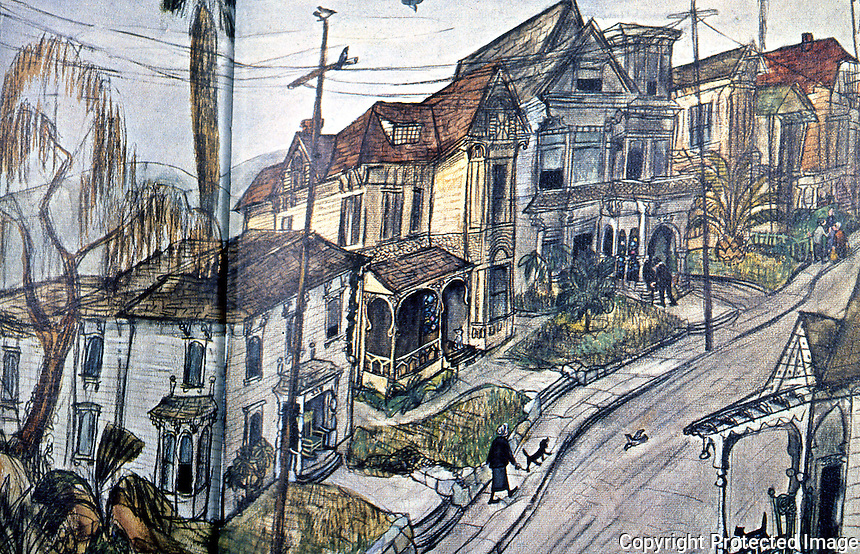 Los Angeles: Bunker Hill Avenue by Leo Polito. (Polito, Bunker Hill, Los Angeles, Reminisences of Bygone Days, 1964.)
