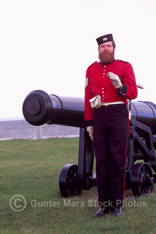 Costumed Interpreter in 1830's British Soldier Uniform, Fort Henry National Historic Site (UNESCO World Heritage Site) (built 1832 to 1837), Kingston, Ontario, Canada