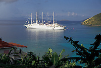AJ2367, Tortola, British Virgin Islands, cruise, Caribbean, Virgin Islands, BVI, B.V.I., Scenic view of a Club Med Cruise Ship in White Bay in Jost Van Dyke on the island of Tortola on the British Virgin Islands.