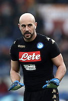 Napoli's goalkeeper Pepe Reina gestures during the Italian Serie A football match between Roma and Napoli at Rome's Olympic stadium, 4 March 2017. <br /> UPDATE IMAGES PRESS/Isabella Bonotto
