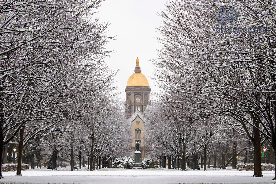 January 3, 2021; The Main Building and Golden Dome after a snow shower. (Photo by Barbara Johnston/University of Notre Dame)