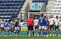 Preston North End's wall defend a Cardiff City's Junior Hoilett free kick<br /> <br /> Photographer Mick Walker/CameraSport<br /> <br /> The EFL Sky Bet Championship - Preston North End v Cardiff  City - Saturday 27th June 2020 - Deepdale Stadium - Preston<br /> <br /> World Copyright © 2020 CameraSport. All rights reserved. 43 Linden Ave. Countesthorpe. Leicester. England. LE8 5PG - Tel: +44 (0) 116 277 4147 - admin@camerasport.com - www.camerasport.com