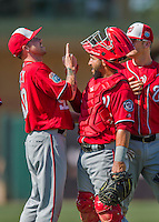 15 March 2016: Washington Nationals pitcher Aaron Laffey (left) celebrates closing out the game with catcher Jhonatan Solano after a Spring Training pre-season game against the Houston Astros at Osceola County Stadium in Kissimmee, Florida. The Nationals defeated the Astros 6-4 in Grapefruit League play. Mandatory Credit: Ed Wolfstein Photo *** RAW (NEF) Image File Available ***