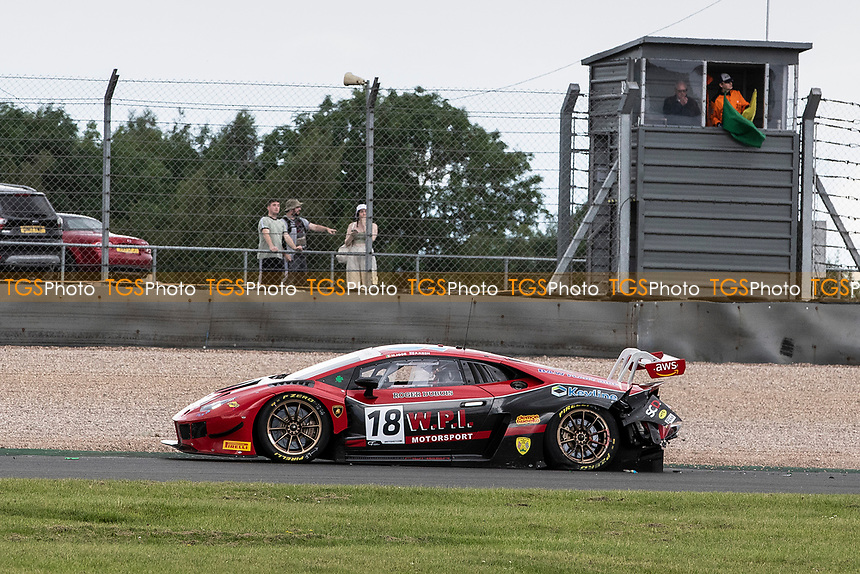Michael Igoe & Phil Keen, Lamborghini Huracan GT3 EVO, WPI Motorsport race ended on the first corner on the opening lap during the British GT & F3 Championship on 11th July 2021