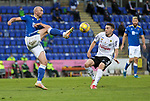 St Johnstone v Lask…26.08.21  McDiarmid Park    Europa Conference League Qualifier<br />Chris Kane and Florian Flecker<br />Picture by Graeme Hart.<br />Copyright Perthshire Picture Agency<br />Tel: 01738 623350  Mobile: 07990 594431