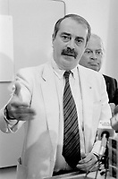Montreal, CANADA - File Photo -  Nick Auf Der Maur speak at the Parti Civique de Montreal news conference, August 19, 1988, while leader Claude Dupras (L) listen)<br /> <br /> Photo : Agence Quebec Presse  - Pierre Roussel