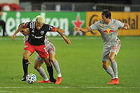 WASHINGTON, DC - SEPTEMBER 12: Yamil Asad #11 of D.C. United battles for the ball with Jared Stroud #8 and Sean Nealis #15 of New York Red Bulls during a game between New York Red Bulls and D.C. United at Audi Field on September 12, 2020 in Washington, DC.