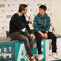 Rotterdam, Netherlands, 10 februari, 2019, Ahoy, Tennis, ABNAMROWTT, KEI NISHIKORI (JPN) + JAN KOOIJMAN Photo: Henk Koster/tennisimages.com