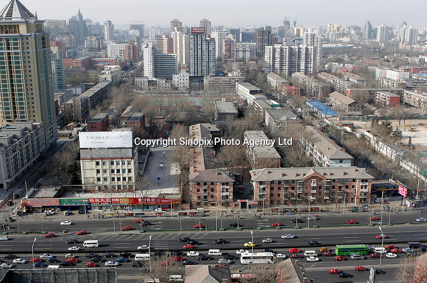 A top shot of traffic in the Chaoyang district, Beijing, China..13-JAN-05
