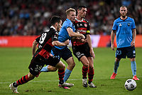 1st May 2021; Bankwest Stadium, Parramatta, New South Wales, Australia; A League Football, Western Sydney Wanderers versus Sydney FC; Trent Buhagiar of Sydney is fouled by Graham Dorrans of Western Sydney Wanderers and gives away a penalty