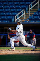 Staten Island Yankees left fielder Canaan Smith (11) hits a single during a game against the Lowell Spinners on August 22, 2018 at Richmond County Bank Ballpark in Staten Island, New York.  Staten Island defeated Lowell 10-4.  (Mike Janes/Four Seam Images)