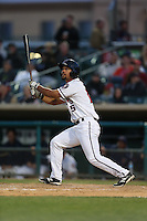 James Ramsay (15) of the Lancaster JetHawks bats during a game against the Lake Elsinore Storm at The Hanger on May 9, 2015 in Lancaster, California. Lancaster defeated Lake Elsinore, 3-1. (Larry Goren/Four Seam Images)