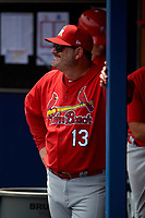 Palm Beach Cardinals pitching coach Will Ohman (13) during a Florida State League game against the Charlotte Stone Crabs on April 14, 2019 at Charlotte Sports Park in Port Charlotte, Florida.  Palm Beach defeated Charlotte 5-3.  (Mike Janes/Four Seam Images)