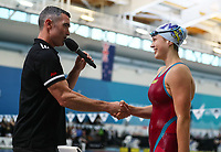 Brearna Crawford interviewed by Scott Rice. New Zealand Short Course Swimming Championships, National Aquatic Centre, Auckland, New Zealand, Tuesday 1st October 2019. Photo: Simon Watts/www.bwmedia.co.nz/SwimmingNZ