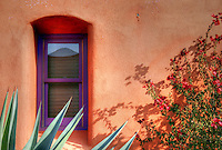 "Historic ""El Barrio"" neighborhood in Tucson, Arizona with row after row of charming and colorful adobe houses built in the 1800's - since restored.<br />