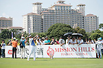 Man Wenjun tees off the 10th hole during the World Celebrity Pro-Am 2016 Mission Hills China Golf Tournament on 22 October 2016, in Haikou, China. Photo by Weixiang Lim / Power Sport Images