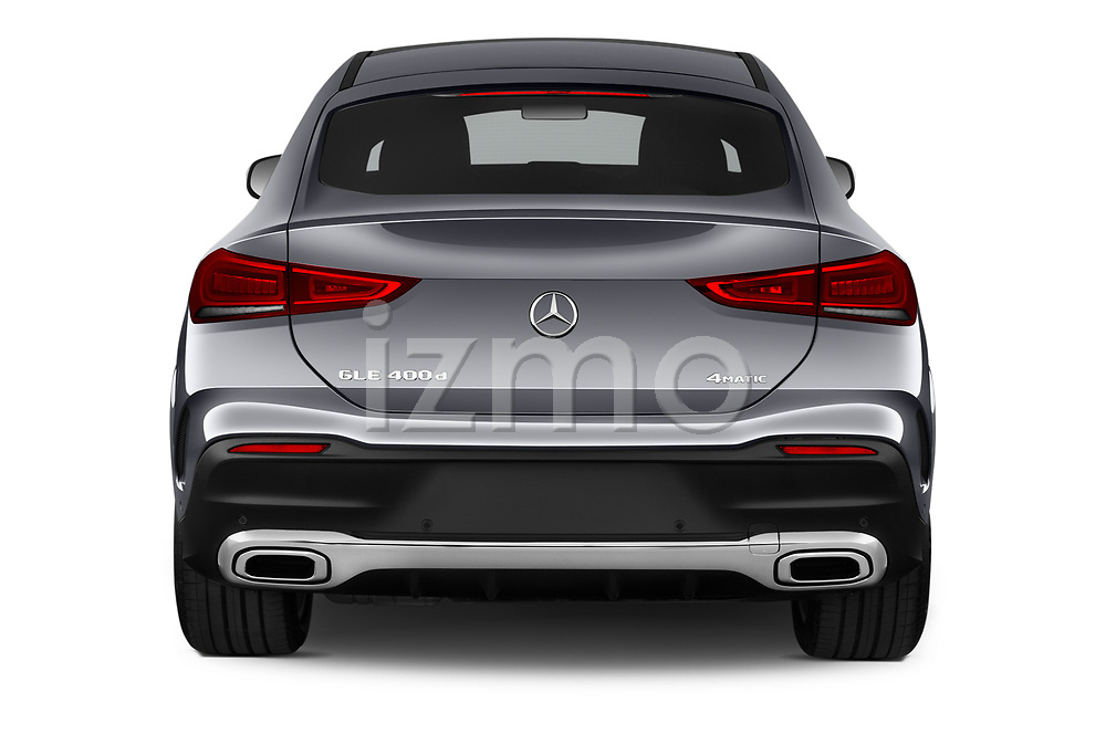 Straight rear view of 2020 Mercedes Benz GLE - 5 Door SUV Rear View  stock images