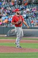 Albuquerque Isotopes starting pitcher Harrison Musgrave (40) of the Albuquerque Isotopes follows through on his pitch against the Salt Lake Bees during the Pacific Coast League game at Smith's Ballpark on August 30, 2016 in Salt Lake City, Utah. The Bees defeated the Isotopes 3-2. (Stephen Smith/Four Seam Images)