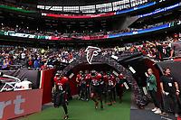 10th October 2021; Tottenham Hotspur stadium, London, England; NFL UK Series, Atlanta Falcons versus New York Jets: Falcons run out onto the pitch