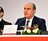 Nabil Baffoun, head of the Independent Higher Authority for Elections (ISIE), announces the official results of the presidential election during a press conference in Tunisia's capital Tunis on September 17, 2019. - Law professor Kais Saied and imprisoned media mogul Nabil Karoui are to advance to the next round of Tunisia's presidential elections, the electoral board said. Saied gained 18.40 percent of votes and Karoui 15.58 percent, it said, and were thus to move on to a runoff likely to be held early next month.<br /> <br /> PHOTO : Agence Quebec Presse -  JDIDI_WASSIM