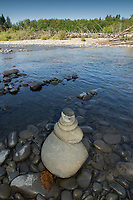 Rock Cairn, Queets River, Olympic National Park, Washington, US